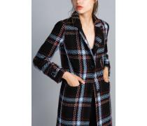 Langer Mantel aus Jacquard mit Karomuster