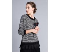 Pullover Mit Zweifarbigen Streifen Und Spitze