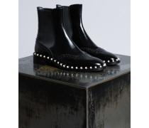 Beatle-Boots aus Leder mit Zierperlen