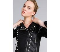 Jacke aus Lederimitat mit Perlen