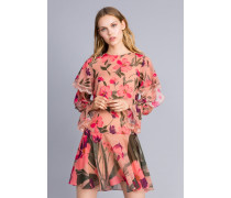 Kurzes Kleid aus Chiffon mit Blumenprint