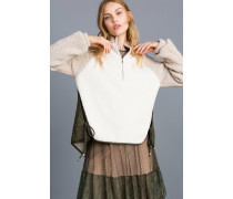 Jacke aus Schaffellimitat und Nylon