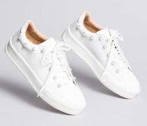 Sneakers aus Leder mit Zierperlen