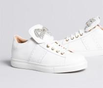 Sneakers aus Zweifarbigem Leder mit Schleifenaufnäher