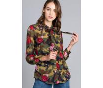 Bluse mit Rosen-Camouflage-Print