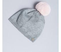 Melierte Mütze mit Pompon