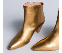 Ankle-Boot aus Metallic-Leder