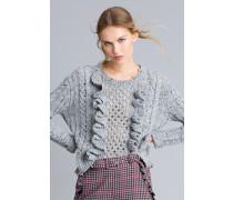 Pullover aus Tweedgarn mit Rüschen