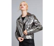 Jacke aus Metallic-Lederimitat