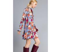 Kurzes Kleid aus Satin mit Blumenprint