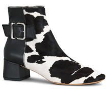 Ankle Boots aus Leder in Ponyfell-Optik