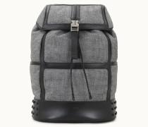 Rucksack Medium aus Wolle und Leder