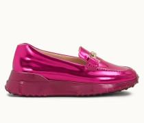Loafer aus Metallic-Leder