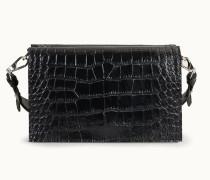 Crossbody-Tasche aus Leder mit Kroko-Prägung