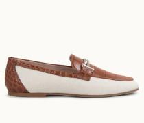 Loafer aus Canvas und Leder