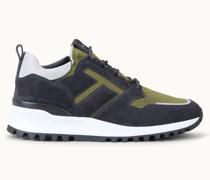 Sneakers aus Veloursleder und technischem Stoff