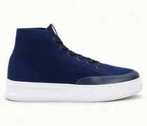 Hohe Sneakers aus technischem Stoff und Leder