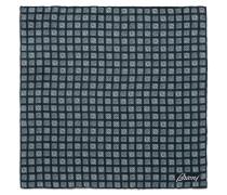 Marineblaues Einstecktuch mit himmelblauem Macro-Muster