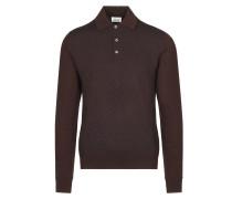 Bordeauxrotes Poloshirt mit langen Ärmeln und Logomuster
