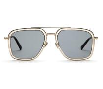 Geometrisch geformte Sonnenbrille im transparenten Sandton mit grünen Gläsern