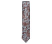 Himmelblaue Krawatte mit braunem Paisleymuster