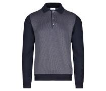 Langärmliges Poloshirt in Marineblau und Bordeauxrot
