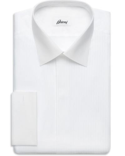 Komfortables Smokinghemd in Weiß mit Plastron