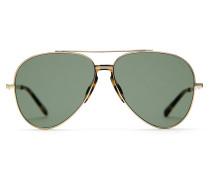 Pilotenbrille in den Farben Gold und Havanna mit grünen Gläsern