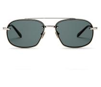 Pilotenbrille aus goldfarbenem Titan mit grünen Gläsern