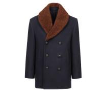 Zweireihiger Mantel in Marineblau