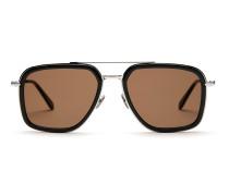 Schwarze Sonnenbrille in geometrischer Form mit braunen Gläsern