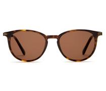 Panto-Sonnenbrille im Retro-Stil in dunkelglänzendem Havanna