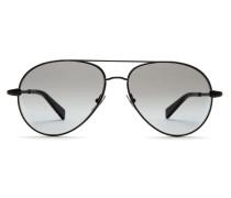 Pilotenbrille in Silber und Schwarz mit grauen Gläsern