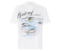 Weißes T-Shirt mit Brioni-Design