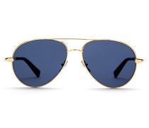 Goldene Pilotenbrille mit blauen Gläsern