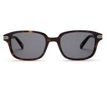 Eckige, schwarze Sonnenbrille mit hellgrünen Gläsern