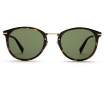 Sonnenbrille in glänzendem Havannabraun mit grünen Gläsern