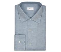 Hellblaues Hemd aus Baumwolle und Leinen