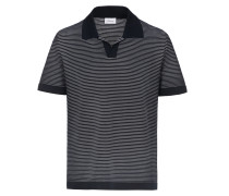 Knopfloses Poloshirt mit Streifenmuster in Marineblau und Weiß