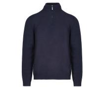 Marineblauer Pullover mit Stehkragen und Reißverschluss