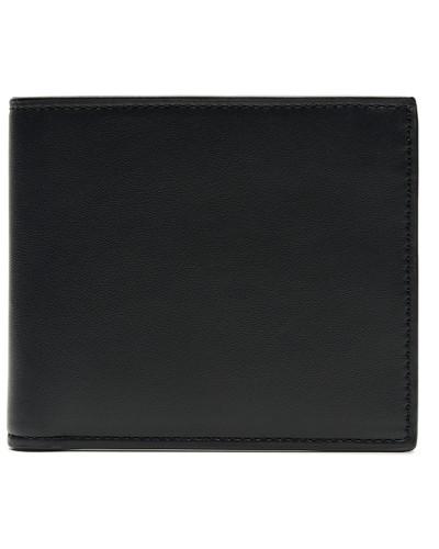 Schmale Brieftasche aus blauem und schwarzem Kalbsleder
