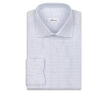 Hemd mit kleinem Karomuster in Weiß und Hellblau
