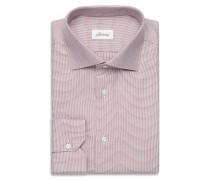 Formelles Hemd in Bordeauxrot und Weiß mit kleinem Muster