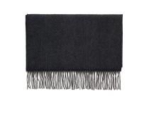 Blauer Schal mit grauem Fischgrätmuster