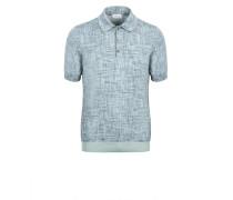 Blaues Poloshirt aus Baumwolle und Seide mit Print