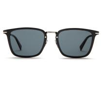 Rechteckige Sonnenbrille in glänzendem Schwarz mit grauen Gläsern