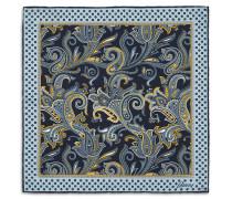 Blaues Einstecktuch mit Paisleymuster