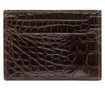 Mahagonifarbenes Kreditkartenetui aus Krokodilleder