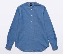 Chambray-Baumwoll-Shirt mit Guru-Kragen