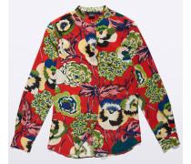 Seidenhemd mit Guru-Kragen und Print